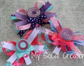 Layered Lollipop Hair Bow/Lollipop Ribbon Sculpture hair Bow/No Slip Hair Clip