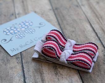 Tuxedo Bow Hair Clippie Set/Preppy Stripes/Navy White Pink/No Slip Hair Clip Set