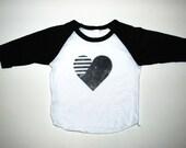 Sweet Luka Mo Black & White Heart Raglan Tee