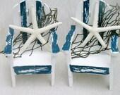 Beach Wedding decor Nautical Chair- Adirondack Cake Topper Hand painted Shabby chic The Modern Vintage Bride