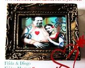 "Amor a la Mexicana"" Print of Original Art by Laura Gomez-Fridge Magnet -Golden Antique Frame- Frida Kahlo and Diego Rivera Art - 3.5X2.75"""