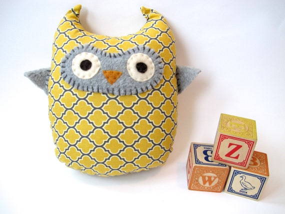 Yellow and Grey Owl Toy - Owl Pillow - Lodge Lattice in Vintage Yellow by Joel Dewberry - Nursery Decor