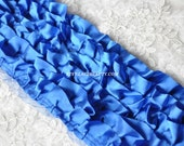 6 Row Royal Blue Satin Fold Lace Trim 5.3 Inches Wide 1 Yard For Costume Wedding Dress Supplies