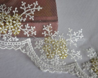 Milk White Lace Trim With Gold Thread Embroidery Floral Tulle Lace Trims 3.9 Inches Wide 2 yards