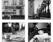 Paris Decor, Paris Photography, Paris photo collection, Black and White Paris Art - Photography Set of 4 - Fine Art Photographs Sepia or B&W
