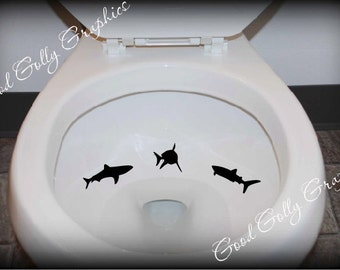 Taking Aim toilet targets: THREE piece collection of SHARKS