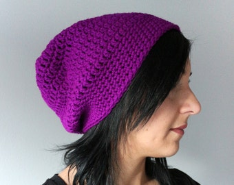 Handmade  Bright Purple Hipster Slouchy Hat, EDM Fashion Accessories