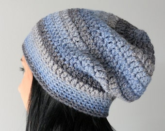 Mixed Blue Grey Sparkle Slouchy Hat, Fashion Winter Accessories
