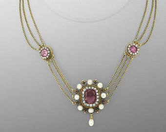 Amazing Victorian Diamond, Tourmaline & Pearl Necklace in 14kt Yellow Gold