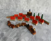 Vintage Rare Wood Toy Train and Village Set by Loquai (smaller)