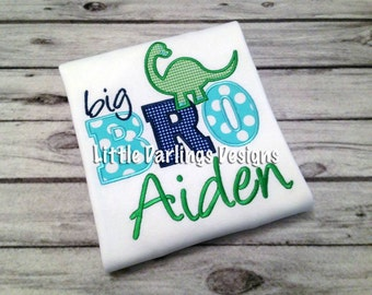 Personalized Lil Bro (or Big Bro) Dinosaur Appliqued Onesie or Shirt