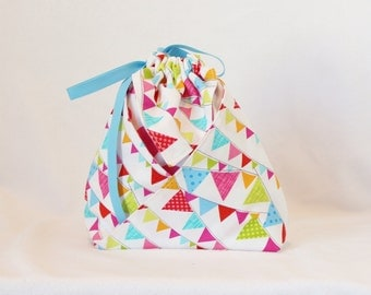 Origami Gift Bag - Timeless Treasures Flags in White from Day in the Park