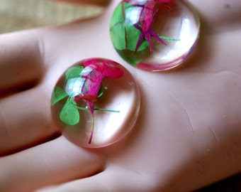 4pcs 24mm  Resin Dry Flower Amber Cameo/cabochon Pink and Green Leaf