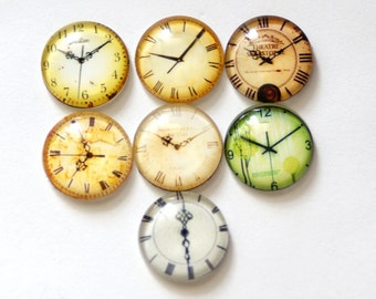14pcs 12/14/16/18/20mm Glass Tranparent  Round Cabochon Cameo Covers Clock Series CLF816-3