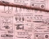 Japanese Fabric Cotton Yuwa - Suzuko Koseki - Vintage Sewing pink - a yard