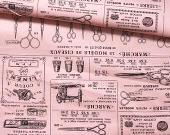 Japanese Fabric Cotton Yuwa - Suzuko Koseki - Vintage Sewing pink - half yard