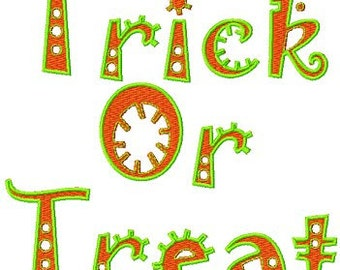 Instant Download Halloween Embroidery Design Trick or Treat Embroidery Digitized Embroidery Machine File