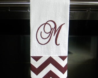 Monogrammed Kitchen Towel or Hand Towel in Maroon and White Chevron