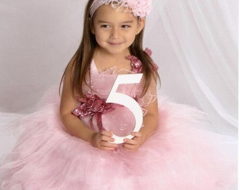 Baby Girl Flower Headband - Infant Headband - Photo Prop - Headband - Infant Headband - Baby Headband / Pink Rosette Flower Headband
