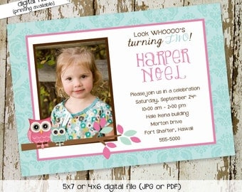 owl baby shower invitation owl first birthday birth announcement photo sip and see sprinkle ultrasound (item 274) shabby chic invitations