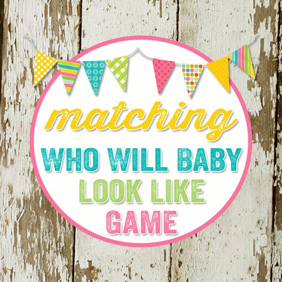 GUESSES who will baby look like  to match any design for baby shower or party, digital, DIY printable file