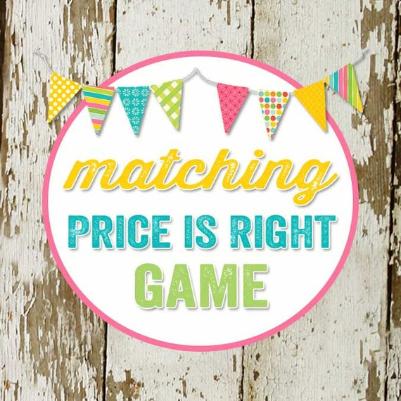 PRICE IS RIGHT game to match any invitation for baby shower or bridal shower, digital,  printable file