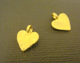Matte Gold Tarnish Resistant mini heart bead disk Connectors, Earring Findings, pendants, 2 pc S510725
