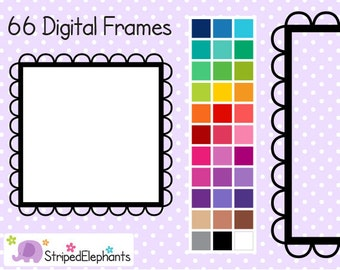 Cutout Scalloped Square Digital Frames 1 - Digital Borders - Instant Download - Commercial Use