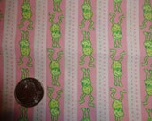 Green Frogs in Stripes and Dots on Light Pink BTY By The Yard baby babies girls