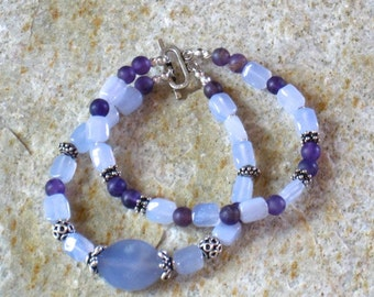 Chalcedony, Amethyst & Sterling Silver Double Strand Bracelet