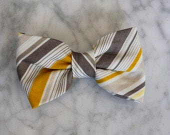 Bow Tie in Yellow and Gray Professor Stripes for Men or Boys - Clip on, pre-tied with strap or Self tying - freestyle - Groomsmen wedding -