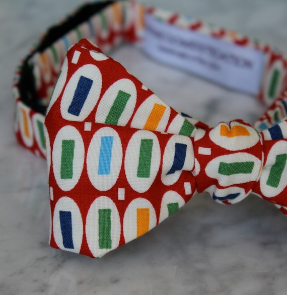 Men's Bow Tie in Red Pez Dots - Self tying - freestyle - Groomsmen gift and ring bearer outfit