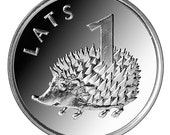 HEDGEHOG Coin for Luck - Jewelry Making - Scrapbooking - Original Presents - Supplies - Collectibles Coin - Numismatics