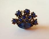 Vintage Blue Ring, Vintage Rhinestone Ring, Vintage Cocktail Ring