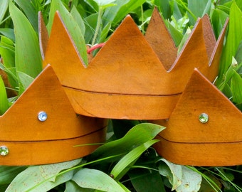 Crown - Where the Wild Things Are w/Carved Line & Rhinestones - Handmade Leather
