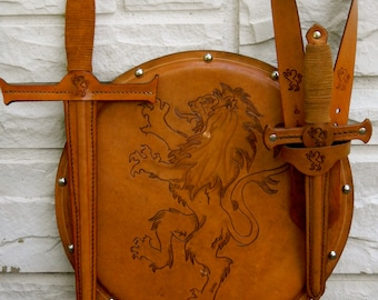 COMPLETE Set - Sword, Dagger, Sword Belt, & Shield w/ Lion Emblem - Handmade Leather