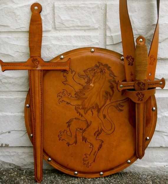COMPLETE Set - Sword, Dagger, Sword Belt, & Shield w/ Lion Emblem - Handmade Leather