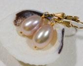 Peach Pearl Earrings Drop Earrings Handmade wire wrapped 14 K gold Filled  Pearl Jewelry Wedding Earrings