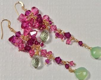 Long dangle Earrings. Gemstone Chandelier Earrings. Cascade Earrings.