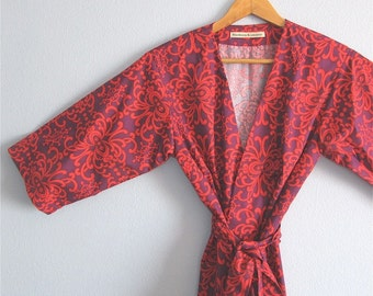 Red Kimono Robe. Red Dressing Gown. Red Maternity Robe. Red Bridesmaid's Robes. Cherry Damask.