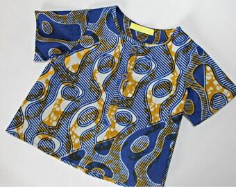 African print baby boy grandad shirt