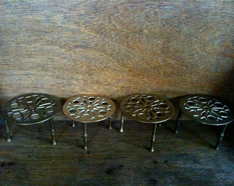 Vintage English Brass Trivet Stands Set of 4 Decorative circa 1950's / English Shop