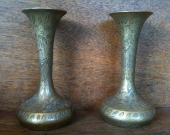 Vintage English Brass Pair of Vases Pot Container circa 1930-50's / English Shop