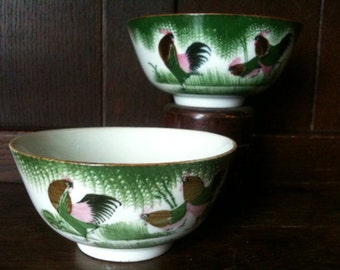 Vintage Chinese Chicken Rice Noodle Bowls circa 1950's / English Shop