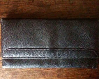 Vintage English Black Leather Purse Wallet circa 1970's / English Shop