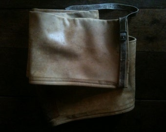 Vintage French Leather Long Fishing Rod Gun Instrument Other Case Bag circa 1960's / English Shop