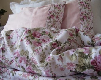 shabby chic Bedding- green Pink roses floral print Twin/Full/Queen/Cal King duvet cover pillowcases-romantic bedroom shabby chic duvet cover