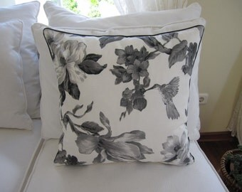 grey gray black bird print 18 inch Duck linen Decorative Throw pillow cover