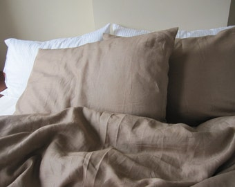Camel dark beige linen linen queen size duvet cover with pillow cases Custom bedding oatmeal or brown by Nurdanceyiz