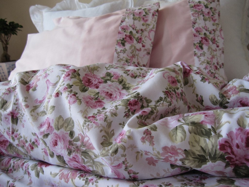 Shabby Chic Bedding Green Pink Roses Floral Print By